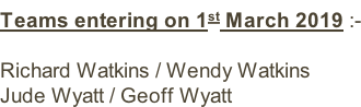 Teams entering on 1st March 2019 :-  Richard Watkins / Wendy Watkins Jude Wyatt / Geoff Wyatt